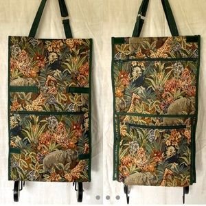 Vintage Tapestry Shopping Tote Cart Bag Wheels